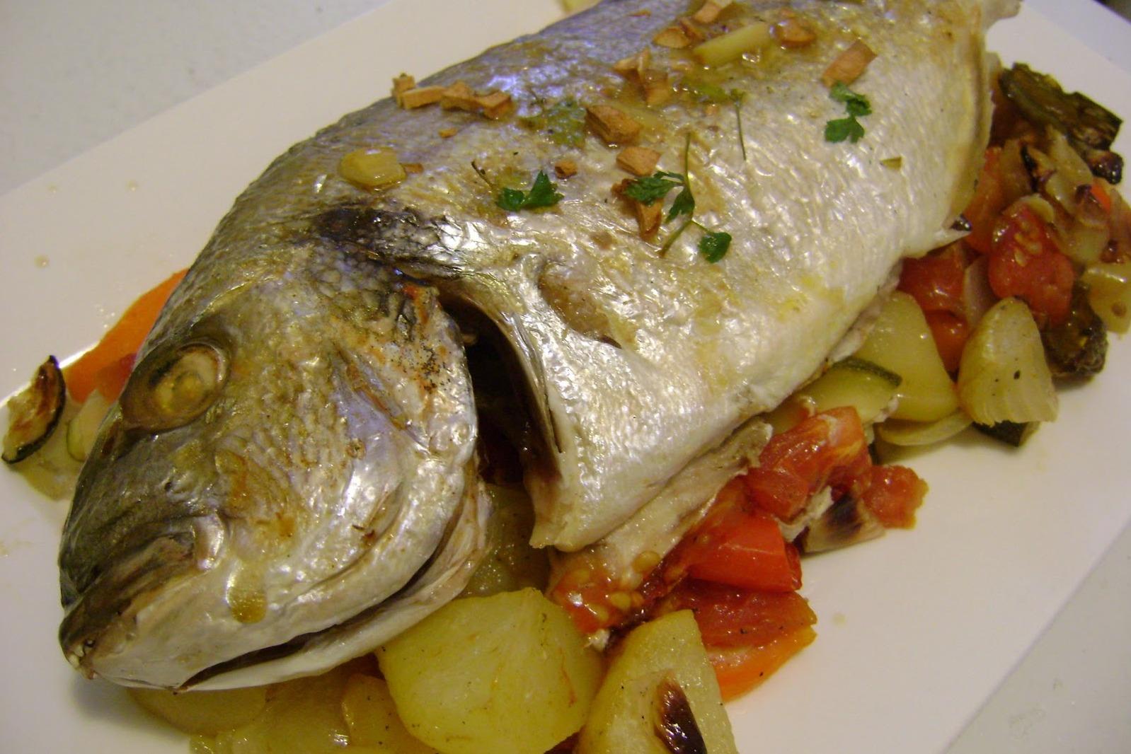 Рыба дорада с овощами