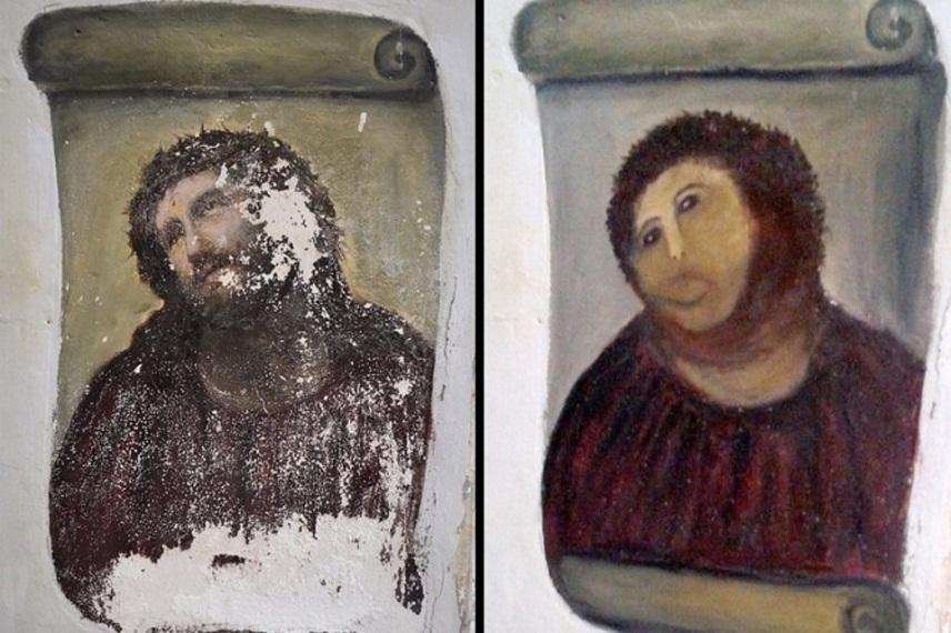Неудачно отреставрированная фреска «Ecce Homo» станет звездой кино ...